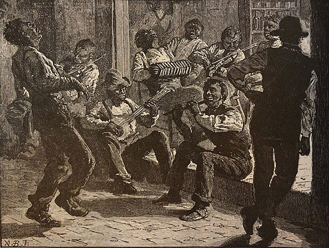 Antique illustration - group of black musicians playing music on the street