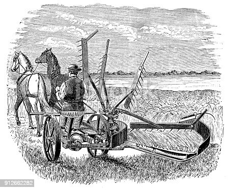 Antique illustration: Harvester machine
