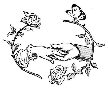 Antique illustration: Holding hand