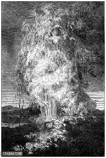 Antique illustration: Iceland geyser