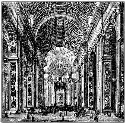 Antique illustration: Inside St Peter's, Rome