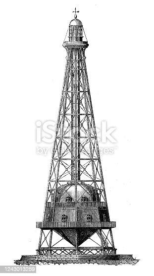 istock Antique illustration: Iron lighthouse in Buda (Spain) 1243013259