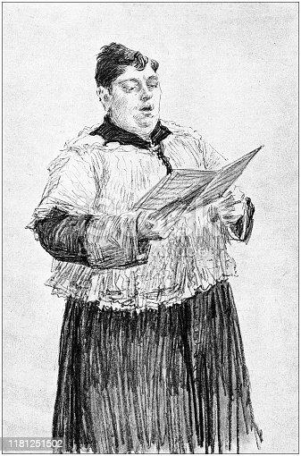 Antique illustration: Italian soprano singing