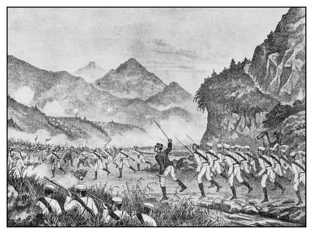 Antique illustration: Japan China Battle vector art illustration