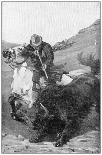 Antique illustration: Killing a bison