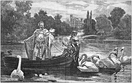 Antique illustration: King of Bavaria on Starnberg lake