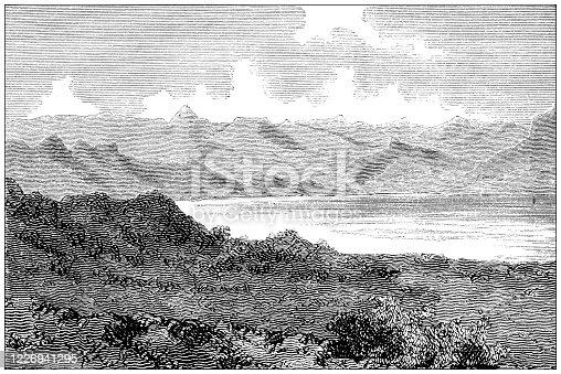 Antique illustration: Lake Hashenge, Ethiopia