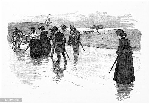 Antique illustration: Leaving
