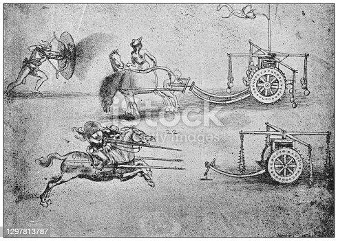 istock Antique illustration: Leonardo da Vinci's sketches 1297813787