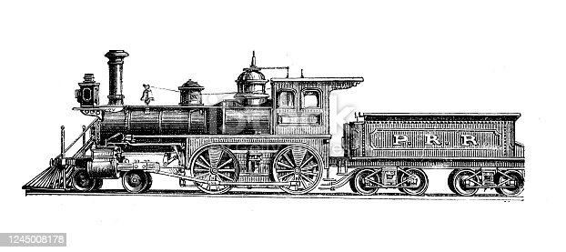 Antique illustration: Locomotive train