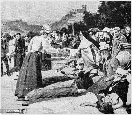 Antique Illustration: Lourdes pilgrimage