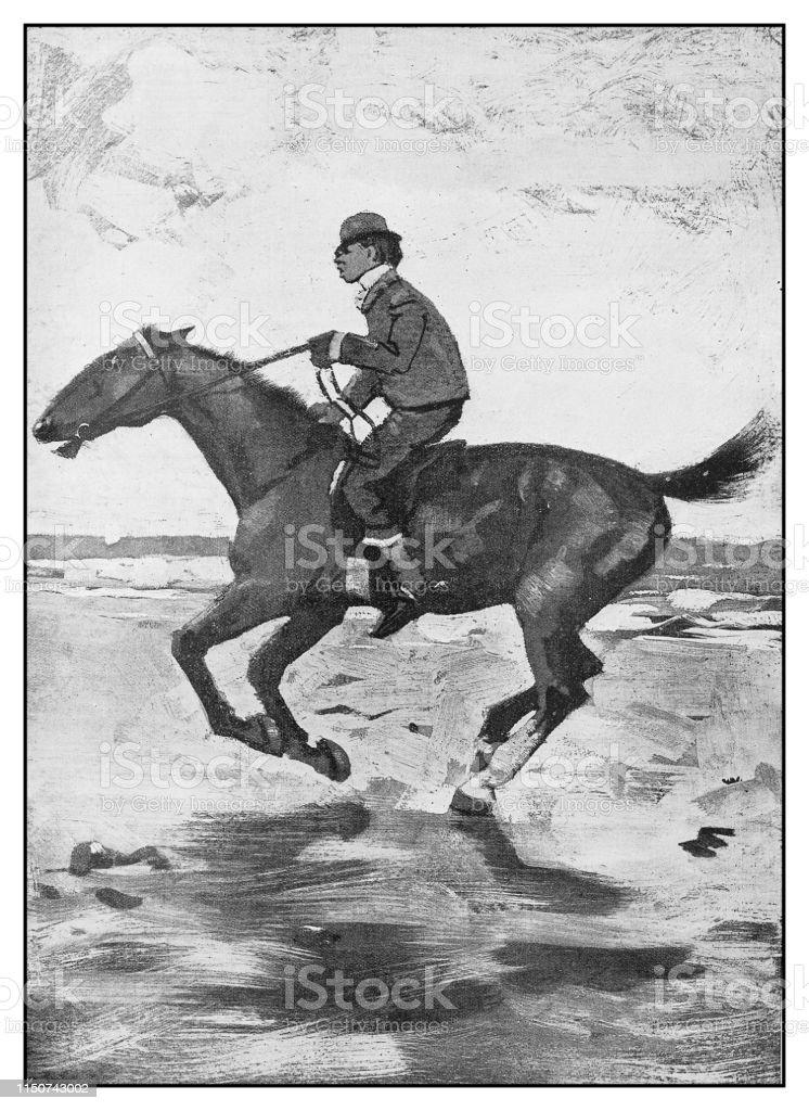 Antique Illustration Man Riding Horse Stock Illustration Download Image Now Istock