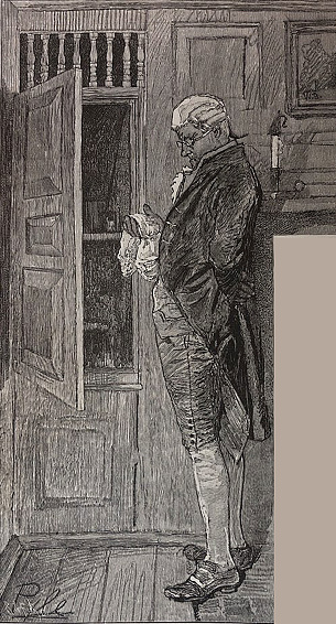 Antique illustration - man wearing long tails and wig looking in a cupboard