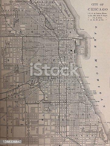 Antique illustration - map of city of Chicago - Chicago Illinois