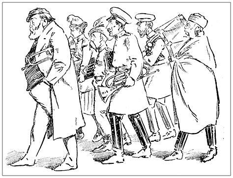 Antique illustration: marching band