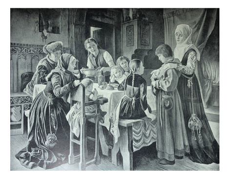 Antique illustration - Martin Luther introduced to the home of Frau Cotta