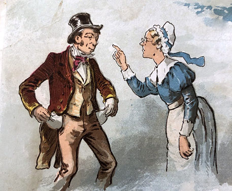 Antique illustration - Mother Goose 1887 - woman scolding man with no money