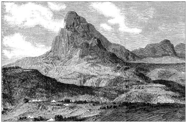 Antique illustration: Mount Samata vector art illustration
