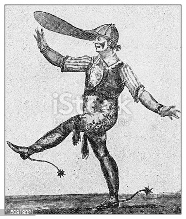 Antique illustration: Mr Kirby as Clown