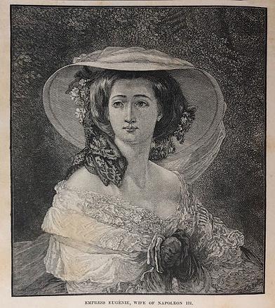 Antique illustration - Napoleon Bonaparte III - Empress Eugene - Wife of Napoleon III