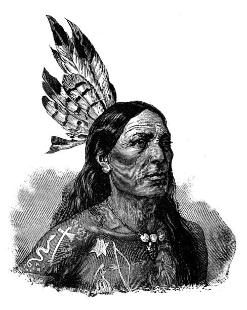 Antique illustration: Native North American vector art illustration