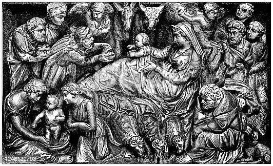 Antique illustration: Nativity bas relief, Pistoia