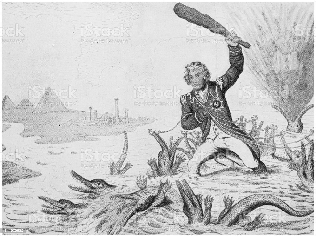 Antique illustration: Nelson victory on the Nile vector art illustration