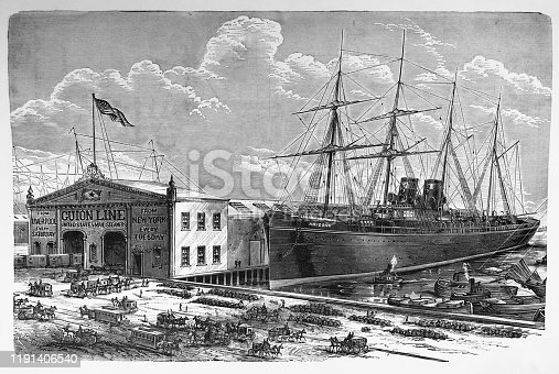 Antique illustration - New York 1881 - SS Arizona British passenger liner docked in New York