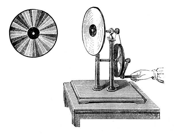 Antique illustration: Newton disc vector art illustration