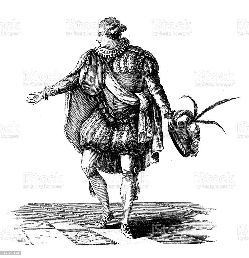 Antique illustration of 16-17th century-style French men's attire vector art illustration
