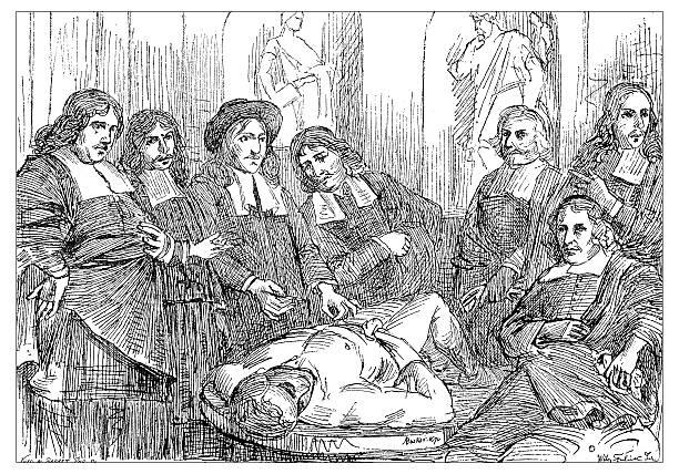 antique illustration of 17th century anatomy lesson - autopsy stock illustrations, clip art, cartoons, & icons