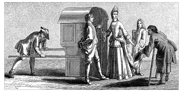 Antique illustration of 17th century-first years of 18th century French lady in period costume and with the fontange (or frelange or top-knot in English) hairdo (a high headdress with folded ribbon bows popular during the turn of the late 17th and early 18th centuries) depicted as she is about to enter the cabin of a litter or sedan chair (chaise à porteurs in French, wheelless vehicles, human-powered transport). She is surrounded by carriers and servants who help her taking the seat. From an engraving dating back to Louis XIV of France reign