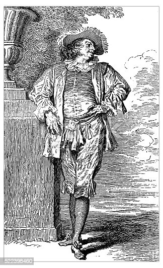 Antique illustration of 18th century French actor Paul Poisson wearing a farmer costume (engraving by Desplaces from an artwork by Jean-Antoine Watteau (better known as Antoine Watteau ,18th century French painter)