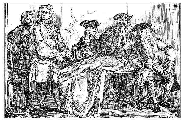 antique illustration of 18th century anatomy lesson - autopsy stock illustrations, clip art, cartoons, & icons