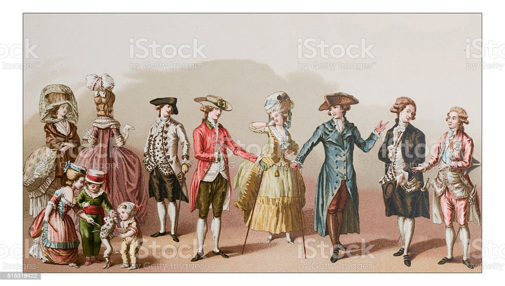 Antique illustration of 18th century clothes vector art illustration