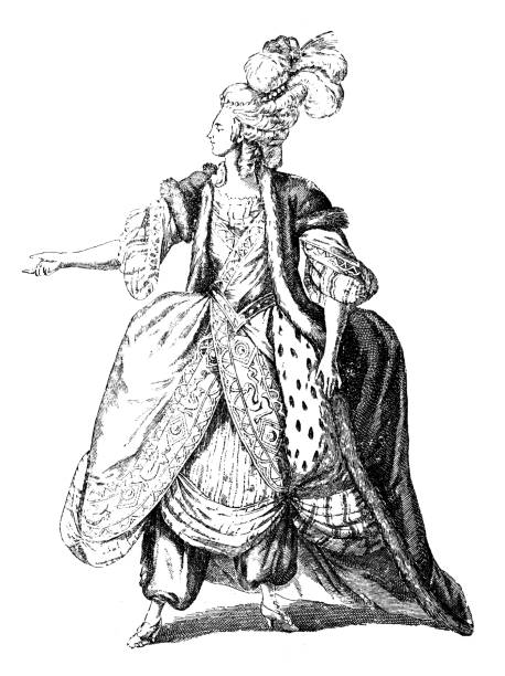 """Antique illustration of 18th century French actress in stage costume Antique illustration of 18th century French actress performing the character called Idame from the Voltaire's drama """"L'Orphelin de la Chine"""". Being the drama set in China, the costume is a 18Th century French costume with Oriental touches (costume by Sarrazin, Leclerc drawing) ermine stock illustrations"""