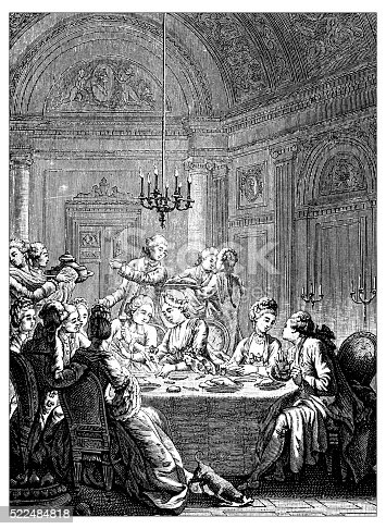 Antique illustration of 18th century French elegant dinner: supper of aristocratic people, sitting around a set table in a very large and luxury room of a palace. Men and women chat and eat while servants serve the courses. by Louis-Joseph Masquelier