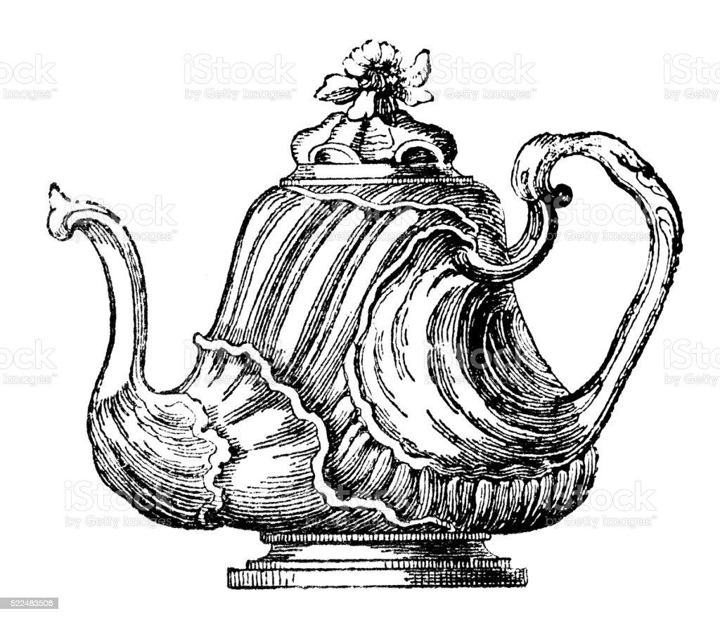 Antique illustration of 18th century French precious teapot vector art illustration