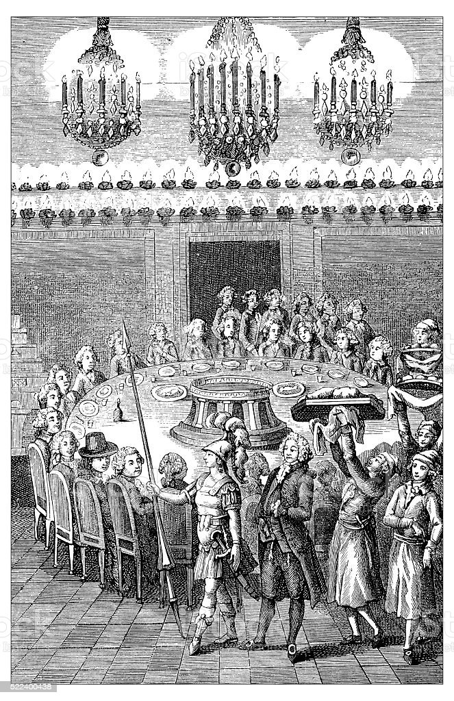 Antique illustration of 18th century French upper class sumptuous banquet vector art illustration