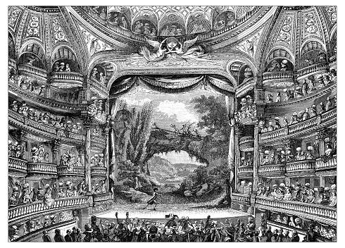 Antique illustration of 18th century interior of Paris theatre