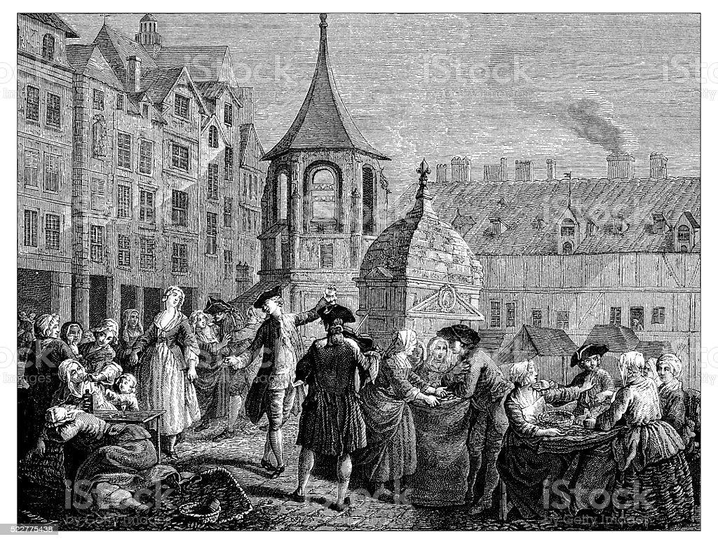 Antique illustration of 18th century market of the Innocents (Paris) vector art illustration