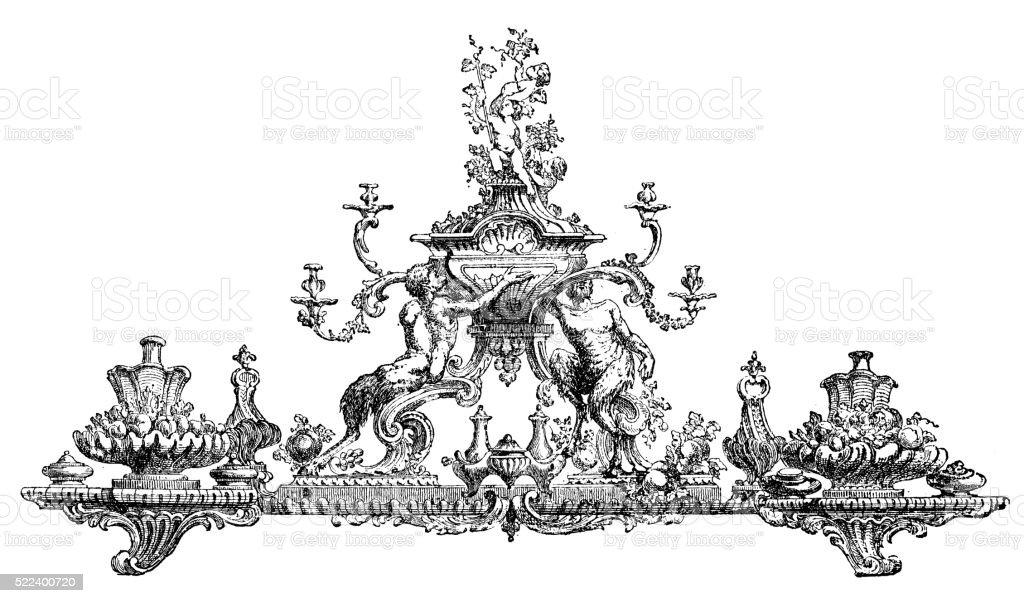 illustration de anciens du XVIIIe siècle (surtout en guise de pièce maîtresse de table - Illustration vectorielle