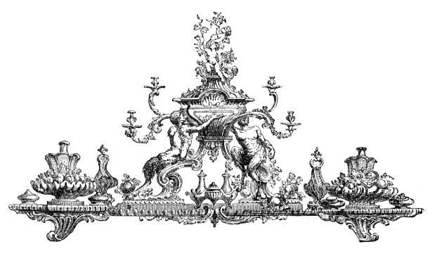 Antique illustration of 18th century ornamental centrepiece (surtout de table) vector art illustration
