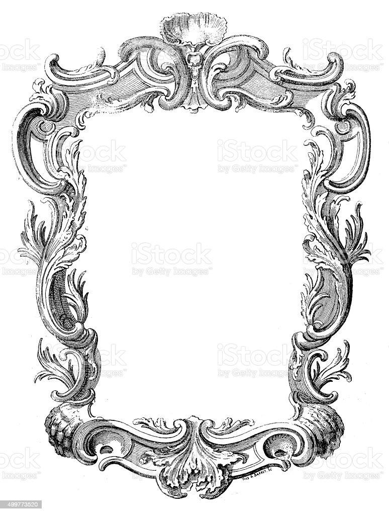 Antique illustration of a decorated frame vector art illustration