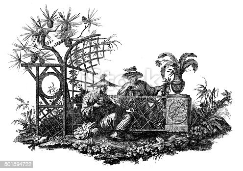 Antique illustration of a cul-de-lampe (French book ornament with a peculiar roughly triangle shape, usually put at the bottom of a page, a book or chapter). This cul-de-lampe depicts a scene from Far East, an ancient Japanese or Chinese setting: a garden with plants, flowers, a wood structure and two man with the typical conical hat. This engraving has been realised by Bossi,  from a composition by A. Petinot.