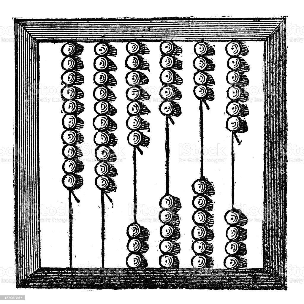 Antique illustration of abacus vector art illustration