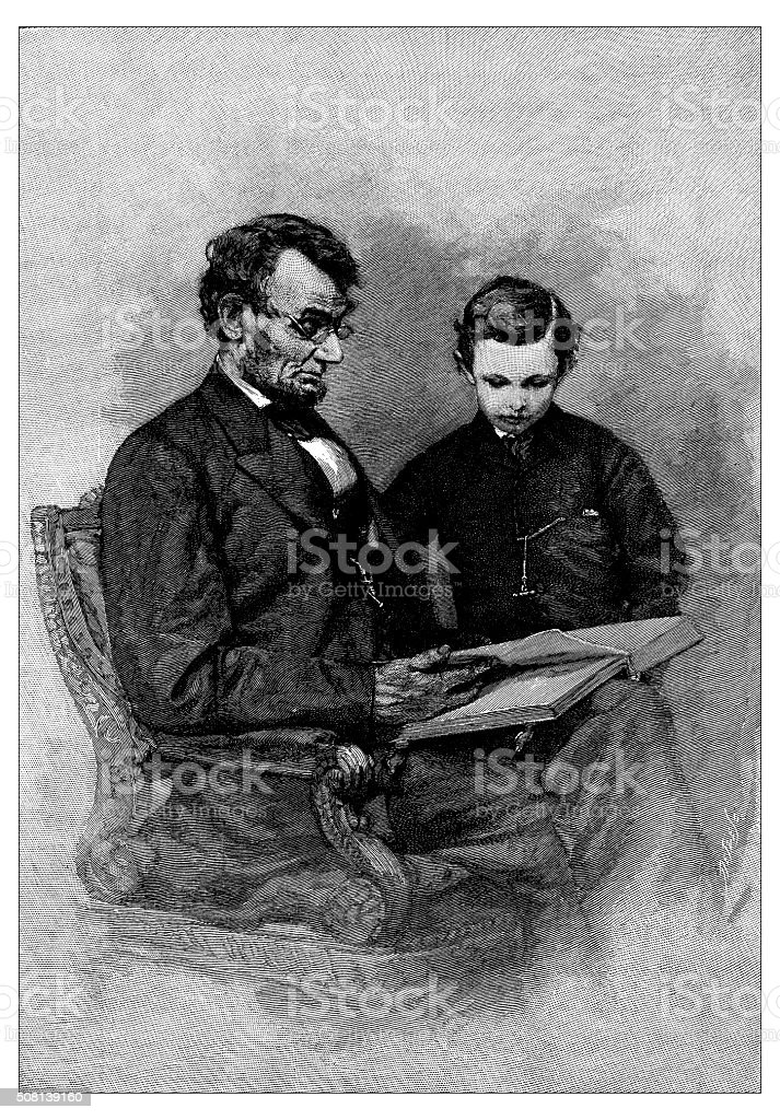 Antique illustration of Abraham Lincoln and his son vector art illustration