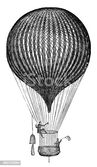 Antique illustration of air balloon and flying machine prototypes