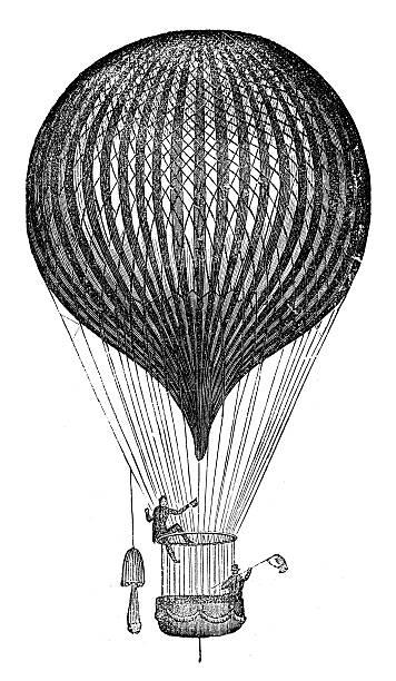 stockillustraties, clipart, cartoons en iconen met antique illustration of air balloon and flying machine prototypes - uitvinding