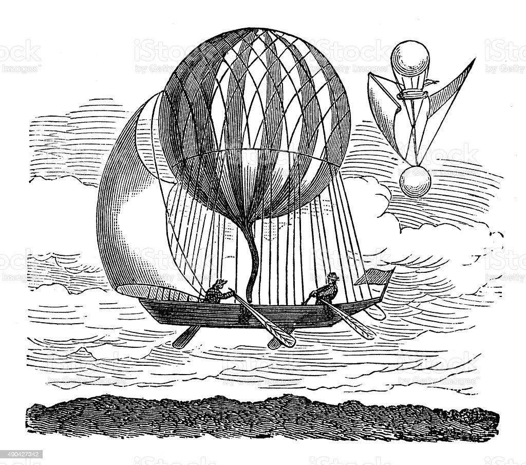 Anticuario ilustración de air balloon and flying máquina de prototipos - ilustración de arte vectorial